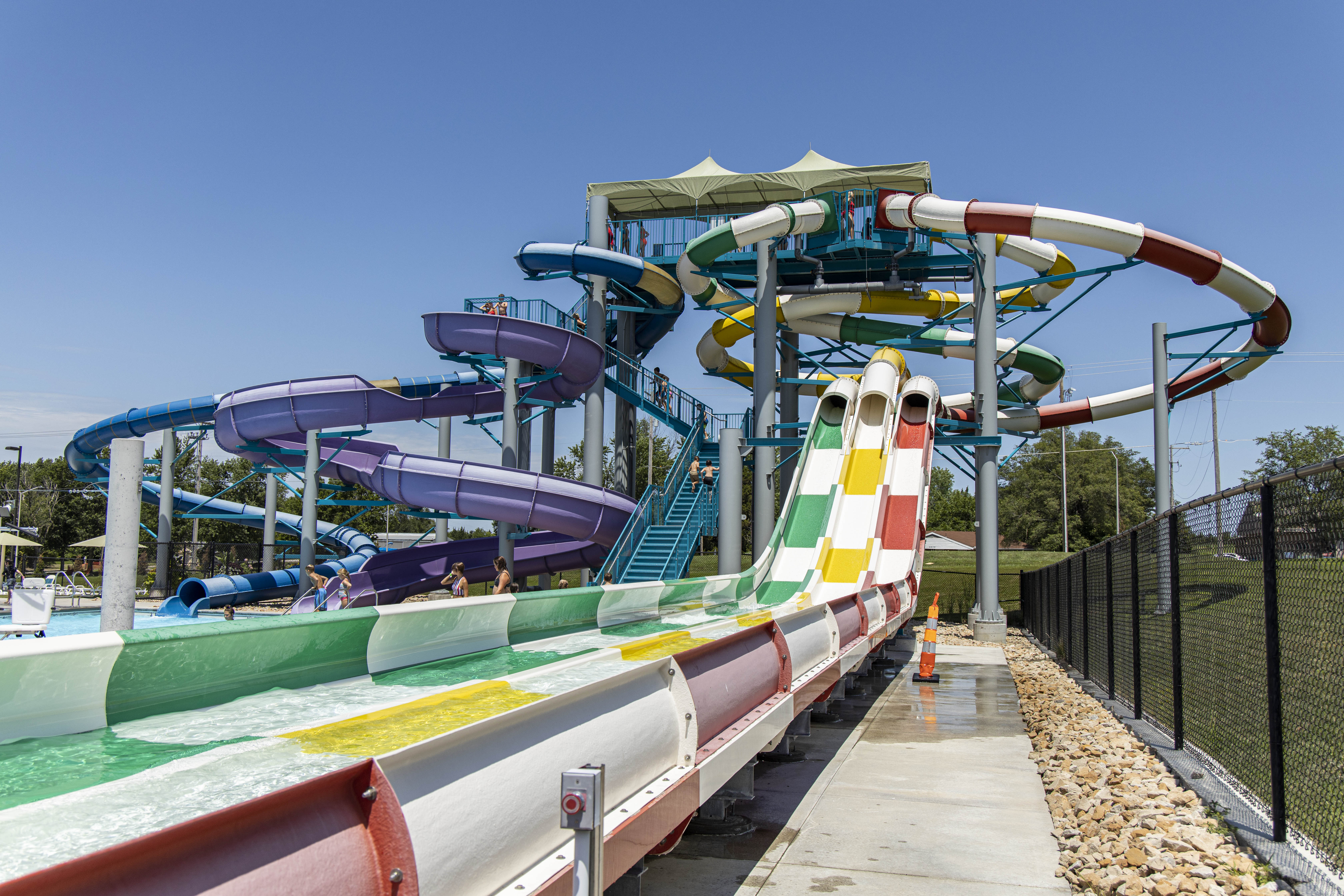 Water slide towers at Midwest Health Aquatic Center